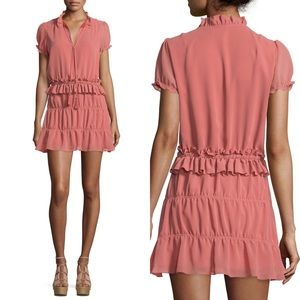 Tularosa Peach Colleen Tiered Mini Dress